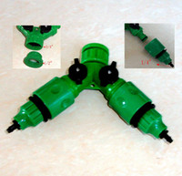 Wholesale Garden Taps - Garden Hose Pipe two Way Adapter Y Tap Connector Fitting For hose drip Irrigation free shipping