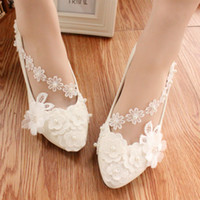 Wholesale Lace Up Ballet Flats - White Pearl Wedding Shoes Ballerina Flat Ankle Tie Lovely Pearl Lace Flower Embroidery Bridesmaid Shoes ballet shoe