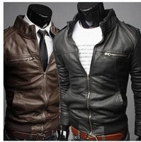 Wholesale Motorcycle Blouse - XXXL Winter Men PU Leather Coats Jacket Blouse 2016 leather motorcycle jacket Plus szie Black coat men jacket