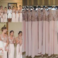 Wholesale Golden Yellow Bridesmaid Dress - 2017 Beach Bridesmaid Dresses A Line V Neck Floor Length Pink Chiffon Rose Golden Sequined Wedding Guest Dresses For Beach Garden