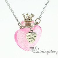 Wholesale Empty Heart Pendant - heart foil aromatherapy jewelry wholesale jewelry scents essential oil pendant empty vial necklace lampwork glass perfume necklace