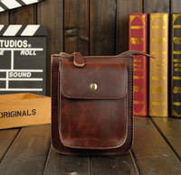 Wholesale Crazy Horse Cross Body Bag - Factory sales male bag retro crazy horse Metrosexual leisure bags outdoor sports and leisure fashion leather Men Square Bag Satchel