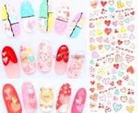 Wholesale Minx Foils - Wholesale- DS063 DIY Water Transfer Foils Nail Art Sticker Fashion Nails Colorful Love Manicure Decals Minx Cute Nail Decorations Tools