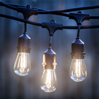 Wholesale 2w Water - 7m 15m Outdoor LED String Lights Waterproof E26 E27 S14 2W LED Retro Edison Filament Bulb Street Garden Patio Holiday Lighting