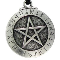 Wholesale Pentagram Gold 18k - New Punk Norse Viking Pendant Necklace Large Rune Pentacle Pendant Pentagram Jewelry Wiccan Necklace Norse Pagan Runes