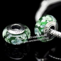 Wholesale European Green Lampwork - S925 Sterling Silver jewelry Green and white flowers Murano Glass Beads Fit European DIY pandora Charm Bracelets & Necklace 130