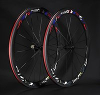 Wholesale Cycling Clincher - 700C 50mm carbon road bike wheels clincher bicycle road bike wheelset black cycling wheels color decals free shipping