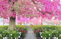 Wholesale Cherry Tree Stickers - 3d wallpaper custom photo non-woven mural wall sticker walk under the cherry trees decoration painting picture 3d wall room murals wallpaper