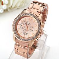 Wholesale Ms Roses - Ms rose gold men's watch Simple fashion set auger dial Geneva Shi Yinggang belt spot wholesale watches