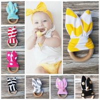Wholesale Wholesale Wooden Fabrics - Infant baby Teething Ring teeth Fabric and Wooden Teething training Crinkle Material Inside Sensory Toy Natural teether bell