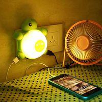 Wholesale Tortoise Night Lamp - 2016 Mini Night Light Voice Control Wall-mounted Tortoise Lamp LED 220V Green White Light USB Charging
