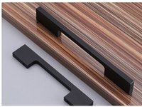 Wholesale Cabinet Solid - Black aluminum alloy solid door handle cabinet pull Long kitchen drawer with pitch row 96 128 160 192 256mm #341