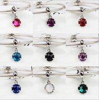 Wholesale Mixed Faceted European - Fit Pandora Charm Bracelet European Silver Charms Mixed Faceted Crystal Round Dangle Beads DIY Snake Chain For Women Bangle Necklace Jewelry