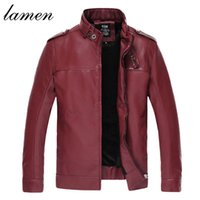Wholesale Men S Red Leather Jacket - Fall-lamen Men Leather Jacket Fur Stand Collar PU Motorcycle Jaqueta Masculinas Inverno Couro Epaulet Jacket Men Wadded Casual Parka