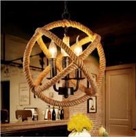 Wholesale Lustre Restaurant - LED retro rope pendant lights Edison lighting fixtures lustre industriel iron Loft Antique DIY E27 Art Spider restaurant lighting