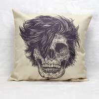 Wholesale Car Back Massages - Skull Pillowcase Halloween Cool Skull Pillow Cover 45*45CM Back Cushion Cover for Car Room Office Shop Bar