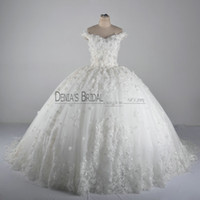 2017 Lace Ball Gown Wedding Dresses with Off Shoulder Sleeveless Handmade Flowers Crystal Beadeds Sequins Appliques Sweep Train Bridal Gowns