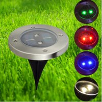 Wholesale Led Round Light Deck - High Quality Solar Waterproof Underground Lamp Round Outdoor Decking 2 LED solar Floor Lamps Garden Lawn Lights