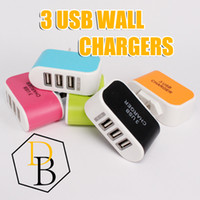 Wholesale Colorful Wall Lights - 3 USB charger 3.1A Candy Colorful LED light Adapter Travel Wall charger Power Adaptor with triple USB Ports For Mobile Phone