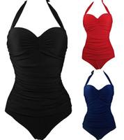 Wholesale Sexy Woman Padded Beach Swimwear - 2017 Sexy Women One piece Swimwear Beach wear Halter Monokini One Piece Padded Bra Swimsuit
