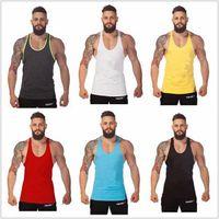 Wholesale Plain Fashion Vest - Wholesale-2015 Fashion New Summer style Gym Plain Tank Top Mens Bodybuilding Stringer Blank Vest Fitness Shirt 100% Cotton Sleeveless Tops