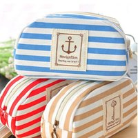 Viaggio portatile Navy Cross Stripes Trousse Make up Holder toilette borsa matita sacchetto della bellezza Wash deposito borse