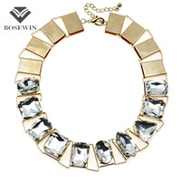 Wholesale Necklace Big Geometric - fashion Chunky Gold Chain Inlay GeometrIc Gems Choker Necklace Women Accessories Fashion Big Statement Jewelry Maxi Collares CE3951