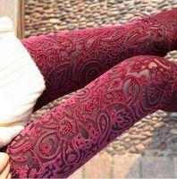 Wholesale Hollow Gold Velvet Leggings - new 2016 spring new extravagance pattern gold velvet leggings nine points Hollow lace flower pants QP41295SZ-1