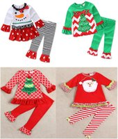 Wholesale Girls Kid Cute Wears - Children Christmas Outfit Kids Cute Christmas T-shirt + Striped Ruffle Pants 2pcs Sets Lovely Kid Spring Fall Wear Suit 5 Sets l