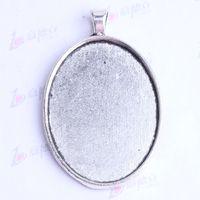 ajustes de anillo de perla grande al por mayor-50.5 * 32.8 * 7.5mm encantos de la base de corcho oval vintage antiguo de plata / bronce aleación de zinc colgante diy colgante de la joyería collar apto 60pcs / lot 2422