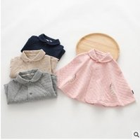 Wholesale Toddler Cardigan Wholesale - Baby Girls Shawl Toddler Kids Poncho Princess Lapel Coat Cloak Hooded Cardigan kids Air Layer Cape Autumn Winter Kids Warm Clothing G1190