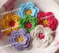 Wholesale Crochet Flower Decoration - 30pcs Mix Crocheted Flowers Cotton Patch Handmade Patches Apparel Sewing Headwear Decoration DIY Crafts Material knitted Flower