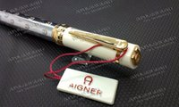 Wholesale Red Head Art - Free shipping ! ! 1 pcs Aigner Pen ballpoint pen Oblique Head Series Resin And Metal White Color Golden   Silver Clip