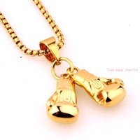 Wholesale Boxing Glove Mini - Sporty Stainless Steel Mini Boxing Glove Necklace Boxing Jewelry 18K Gold Plated Pendant For Men Boys Gift