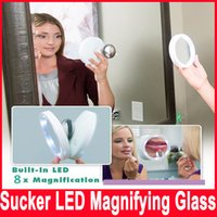 Wholesale Led Makeup Mirror Magnifying - New Magnifying Makeup Mirror Swivel Brite Makeup LED Lighted Edge 8X Magnification Lighted Magnetic Mirror 360 Pivoting Action