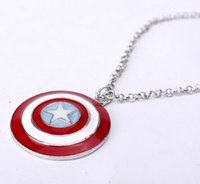 Wholesale Heart Shield - New Popular Vintage Super Hero Captain America Necklace Shield Pendant Logo Jewelry For Men And Women Wholesale 12PCS LOT