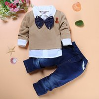 Wholesale Cheap Tuxedos Wholesale - baby boy long sleeves vestidos two-piece bow tie shirts+jeans formal style tuxedo set for flower boy party clothing set cheap kids clothes