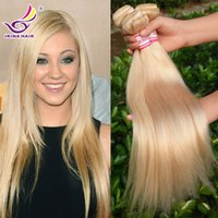 Wholesale Cheap Real Remy Hair Extensions - Cheap honey Blonde Russian virgin hair extensions REAL Russian hair #613 platinum blonde virgin 100% remy human hair straight 4 bundles