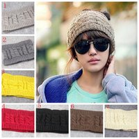 Fashion Women Crochet Caps Headband Knit Hairband Winter Ear Warmer Head Hat Vider Top Hiver Chapeaux Noël Cadeaux YYA431