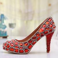 Wholesale Luxury Gems Wedding Shoes - Handmade Glitter Red Crystal Gems Bridal Shoes Bling Rhinestone Party Prom Shoes Luxury Cinderella Shoes Platforms Wedding Pumps