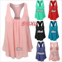 Wholesale Drape Tank Top - Vest Plus Size Loose Camis Fashion Casual Tops Summer Sexy Tees Casual Sexy Tanks Sleeveless Round Collar Blouse Sun-top Women Clothes B2715