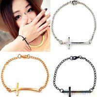 Wholesale Simple Cross Bracelet - 2015 New Fashion Hot-Selling Jewelry Wholesale Punk Style Cross Bracelet Simple Metal free shipping