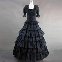 Wholesale Princess Night Gowns - Custom Made Pure Black Long Cotton Victorian Lolita Dress Southern Belle Princess Lolita Party Dress Costume Reenactment Clothing