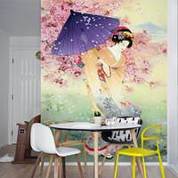mural sakura оптовых-Сакура деревья настенная роспись пользовательские 3D обои для стен зонтик гейша фото обои спальня коридор японский ресторан настенные покрытия дома