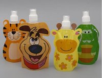 Plastic cartoon testing - 100pcs Folding Water animal shape Cartoon foldable collapsible ml water bottle Flask sport Portable water bag FDA APPROVED