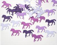 Wholesale Horse Decorations Wholesale - Custom 150pcs glitters Mixed Purple Horse confettis wedding table scatters Christmas bridal shower bachelorette party decorations Event