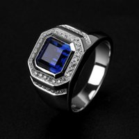 Wholesale 925 mans ring sapphire - Free shipping Wholesale Ring High Quliry Solitarie Blue Sapphire 925 Sterling Silver Simulated Diamond Wedding Men Ring gift Size 8-13