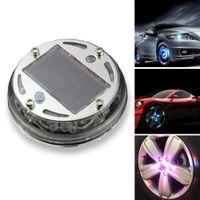 Wholesale Solar Led Wheel Lights - Car Wheel Rim Light Waterproof Solar Energy LED Flash Lights Car Tyre Decoration Accessories