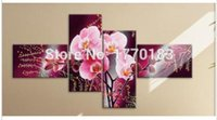 Wholesale Abstract Acrylic Flower Orchid - Art Modern Abstract Acrylic Flower Purple Orchid Oil Painting On Canvas Paintings Modern Pictures Home Decor