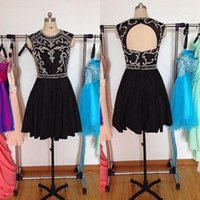 2016 Superbe Prom Robe courte noire Robe de bal Perles exquis Top dos ouvert Jewel Neck Formal Parti Robes Custom Made